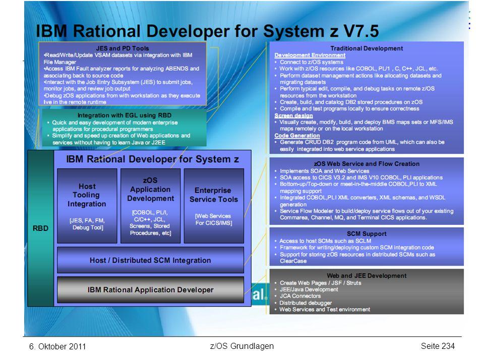 weitere Subsysteme und Features RD/z – moderne Programmentwicklung für z/OS 6. Oktober 2011Seite 234z/OS Grundlagen