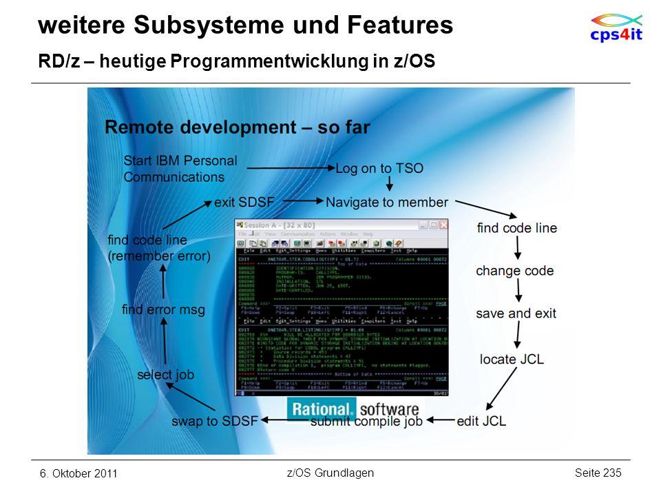 weitere Subsysteme und Features RD/z – heutige Programmentwicklung in z/OS 6. Oktober 2011Seite 235z/OS Grundlagen