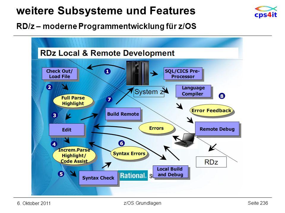 weitere Subsysteme und Features RD/z – moderne Programmentwicklung für z/OS 6. Oktober 2011Seite 236z/OS Grundlagen