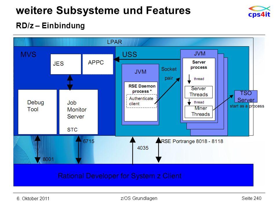 weitere Subsysteme und Features RD/z – Einbindung 6. Oktober 2011Seite 240z/OS Grundlagen