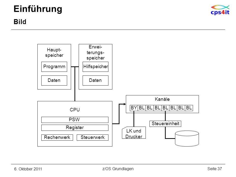 Einführung Bild 6. Oktober 2011Seite 37z/OS Grundlagen CPU PSW Register RechenwerkSteuerwerk Haupt- speicher Programm Daten Hilfspeicher Daten Erwei-