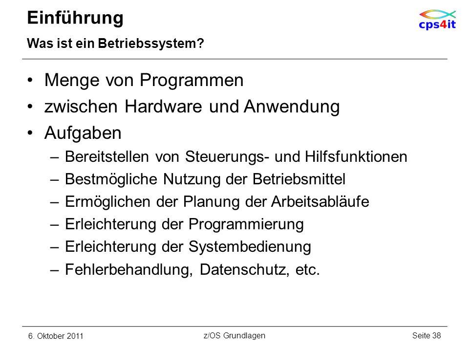 Einführung Was ist ein Betriebssystem? Menge von Programmen zwischen Hardware und Anwendung Aufgaben –Bereitstellen von Steuerungs- und Hilfsfunktione