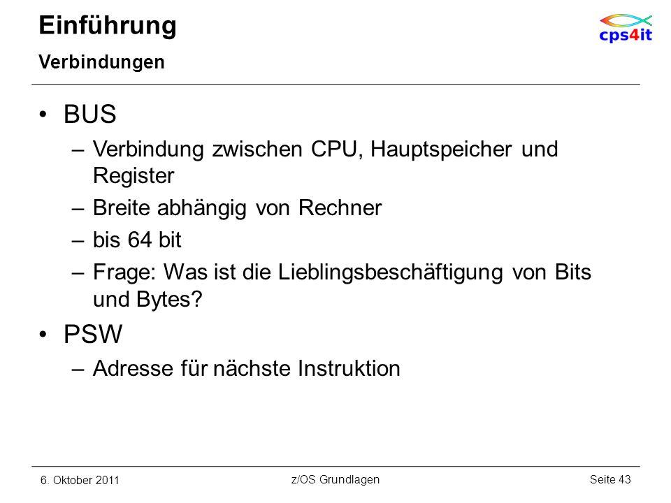 Einführung Verbindungen BUS –Verbindung zwischen CPU, Hauptspeicher und Register –Breite abhängig von Rechner –bis 64 bit –Frage: Was ist die Liebling