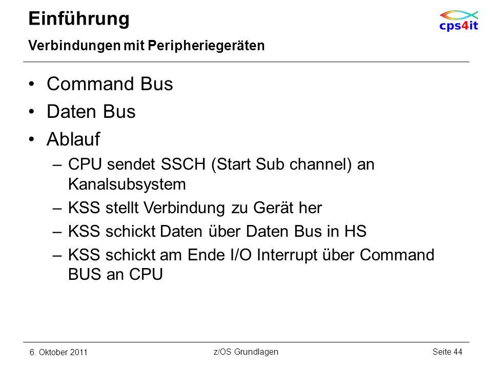 Einführung Verbindungen mit Peripheriegeräten Command Bus Daten Bus Ablauf –CPU sendet SSCH (Start Sub channel) an Kanalsubsystem –KSS stellt Verbindu