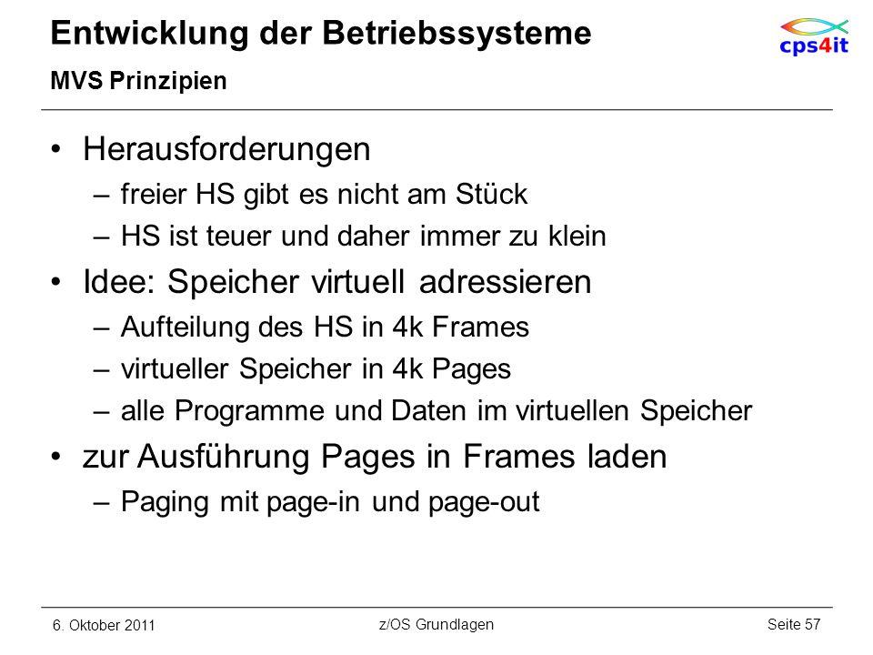 Entwicklung der Betriebssysteme MVS Prinzipien Herausforderungen –freier HS gibt es nicht am Stück –HS ist teuer und daher immer zu klein Idee: Speich