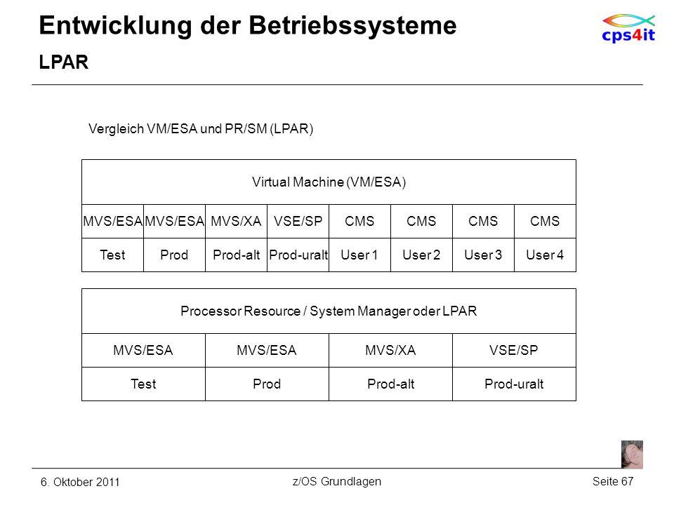 Entwicklung der Betriebssysteme LPAR 6. Oktober 2011Seite 67z/OS Grundlagen Virtual Machine (VM/ESA) MVS/ESA Vergleich VM/ESA und PR/SM (LPAR) MVS/ESA
