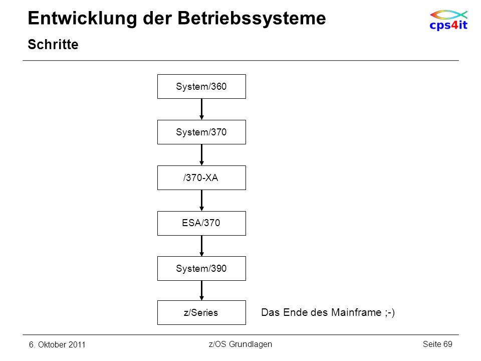 Entwicklung der Betriebssysteme Schritte 6. Oktober 2011Seite 69z/OS Grundlagen System/360 System/370 /370-XA ESA/370 System/390 z/Series Das Ende des