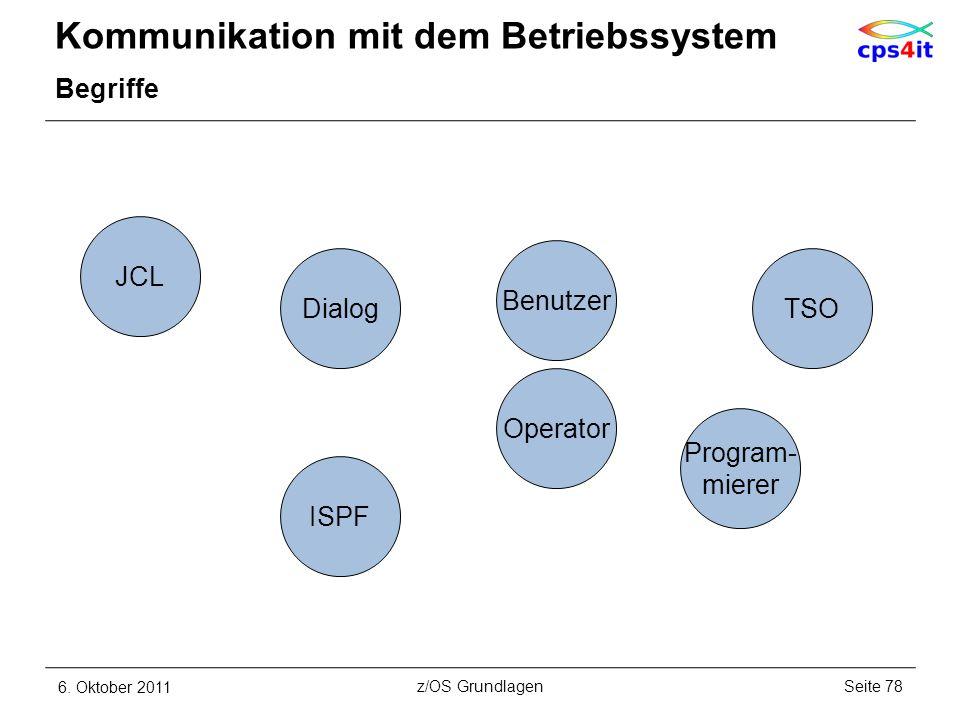 Kommunikation mit dem Betriebssystem Begriffe 6. Oktober 2011Seite 78z/OS Grundlagen DialogTSO Benutzer Program- mierer JCL ISPF Operator