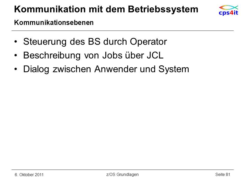 Kommunikation mit dem Betriebssystem Kommunikationsebenen Steuerung des BS durch Operator Beschreibung von Jobs über JCL Dialog zwischen Anwender und