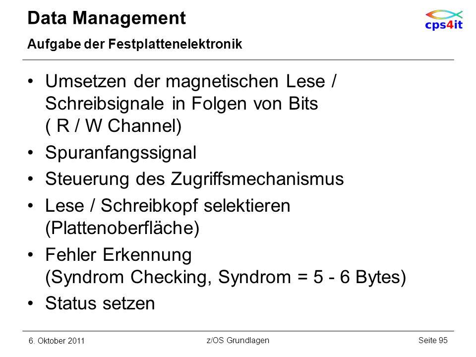 Data Management Aufgabe der Festplattenelektronik Umsetzen der magnetischen Lese / Schreibsignale in Folgen von Bits ( R / W Channel) Spuranfangssigna