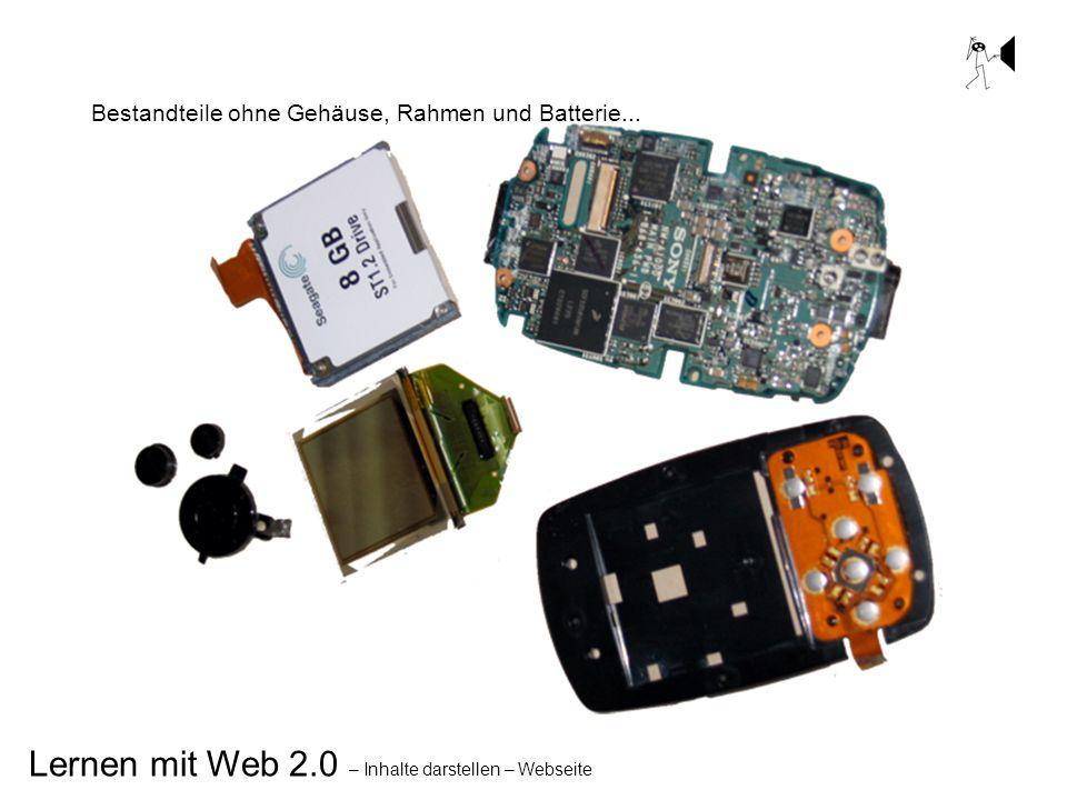 Lernen mit Web 2.0 – Inhalte darstellen – Webseite Bestandteile ohne Gehäuse, Rahmen und Batterie...