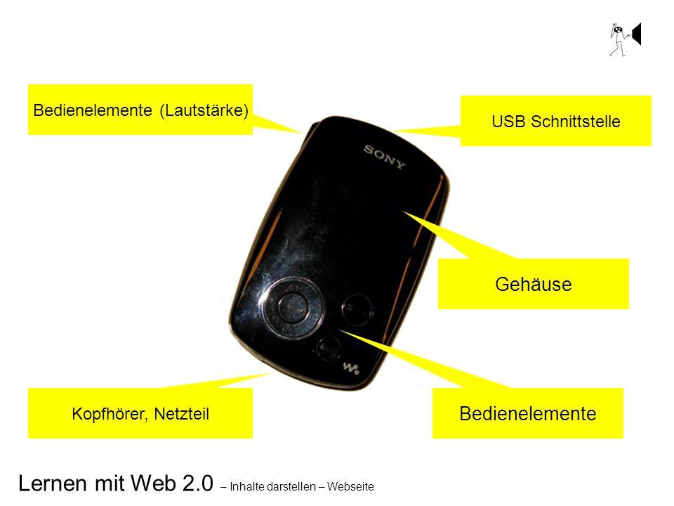 Lernen mit Web 2.0 – Inhalte darstellen – Webseite Gehäuse Bedienelemente USB Schnittstelle Bedienelemente (Lautstärke) Kopfhörer, Netzteil