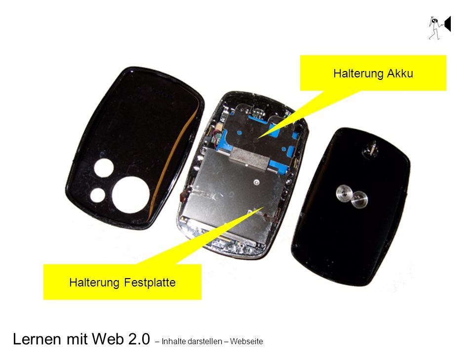 Lernen mit Web 2.0 – Inhalte darstellen – Webseite Halterung Akku Halterung Festplatte