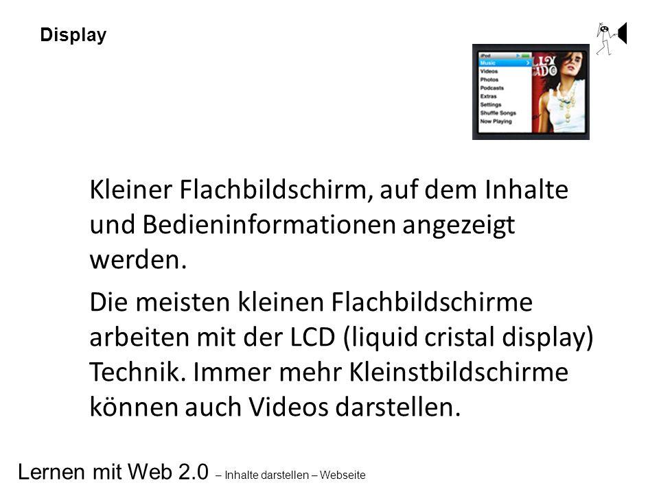 Lernen mit Web 2.0 – Inhalte darstellen – Webseite Display Kleiner Flachbildschirm, auf dem Inhalte und Bedieninformationen angezeigt werden. Die meis