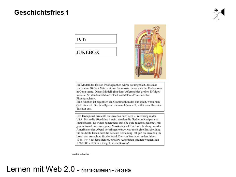 Lernen mit Web 2.0 – Inhalte darstellen – Webseite Geschichtsfries 1