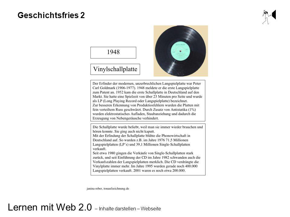Lernen mit Web 2.0 – Inhalte darstellen – Webseite Geschichtsfries 2