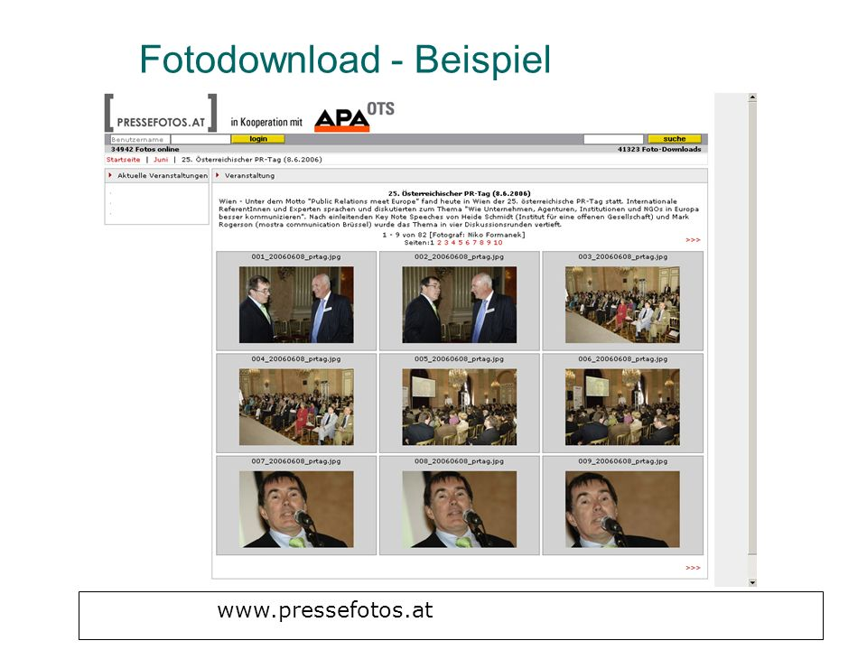 Fotodownload - Beispiel www.pressefotos.at
