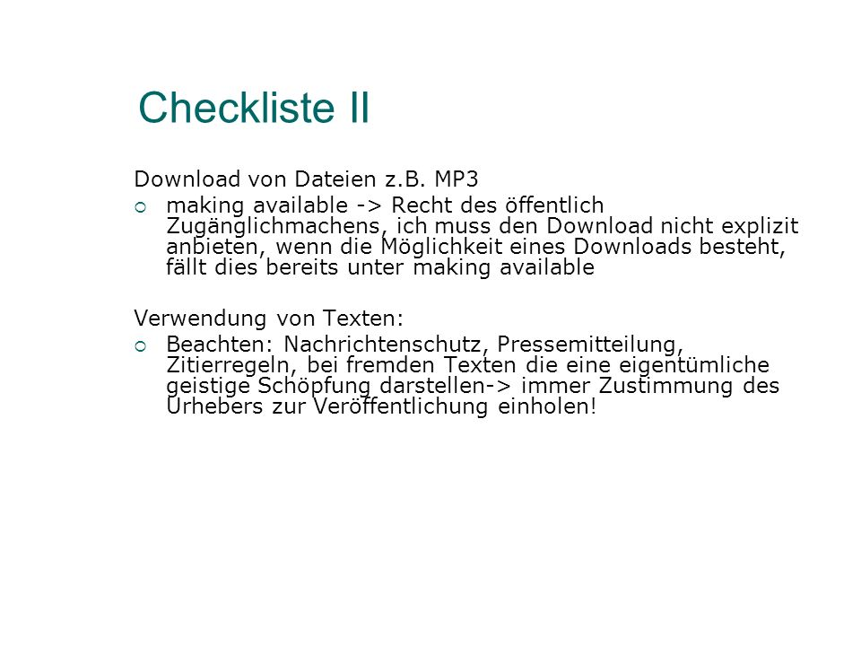 Checkliste II Download von Dateien z.B.