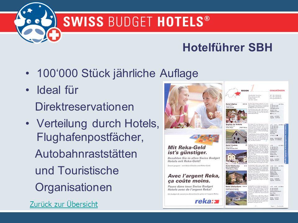 Hotelführer SBH 100000 Stück jährliche Auflage Ideal für Direktreservationen Verteilung durch Hotels, Flughafenpostfächer, Autobahnraststätten und Touristische Organisationen Zurück zur Übersicht