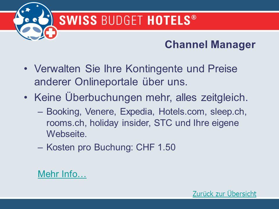 Channel Manager Verwalten Sie Ihre Kontingente und Preise anderer Onlineportale über uns.
