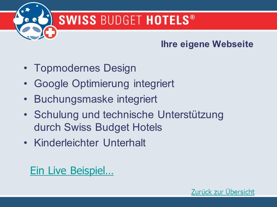 Ihre eigene Webseite Topmodernes Design Google Optimierung integriert Buchungsmaske integriert Schulung und technische Unterstützung durch Swiss Budget Hotels Kinderleichter Unterhalt Zurück zur Übersicht Ein Live Beispiel…