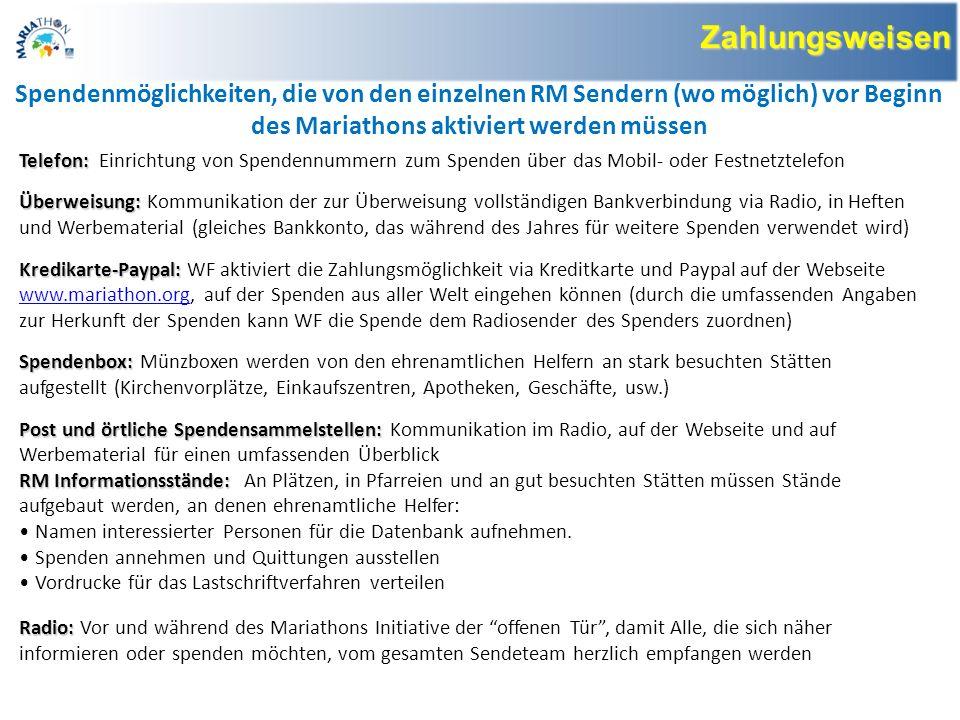 www.mariathon.org Von besonderer Bedeutung ist die Einrichtung einer Webseite als Bezugspunkt für alle Verbände und Hörer.