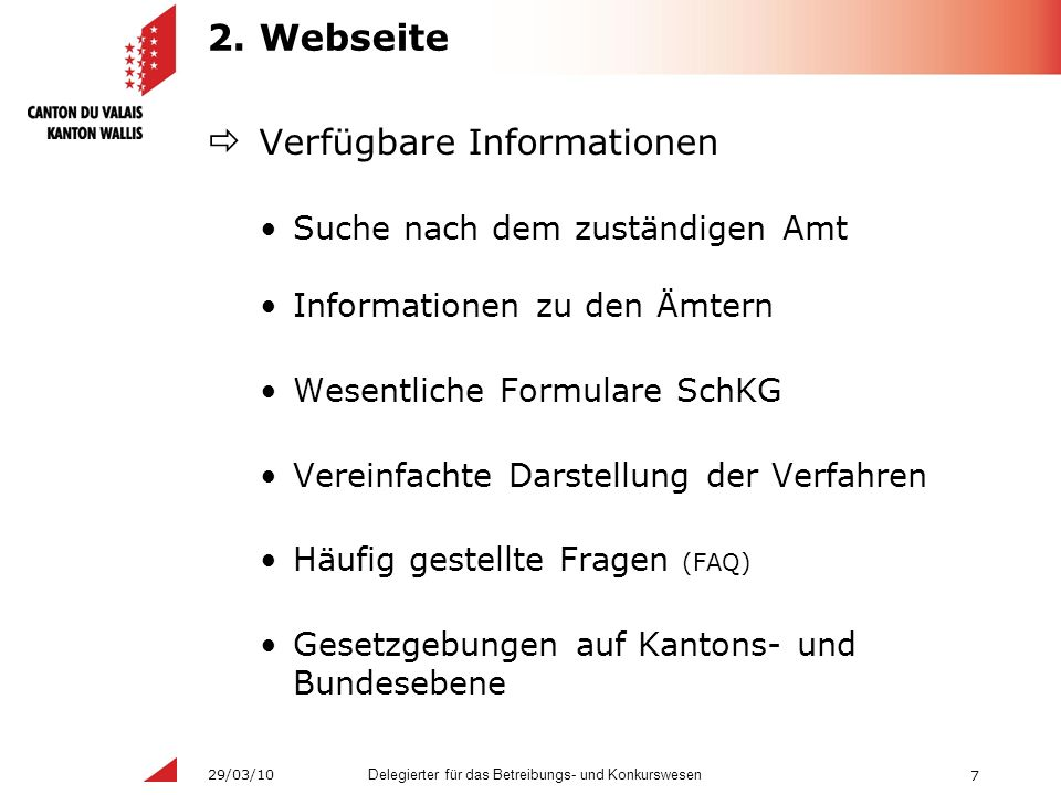 7 Delegierter für das Betreibungs- und Konkurswesen 29/03/10 2.