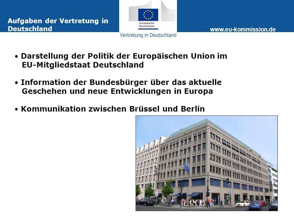 www.eu-kommission.de Aufgaben der Vertretung in Deutschland Darstellung der Politik der Europäischen Union im EU-Mitgliedstaat Deutschland Information