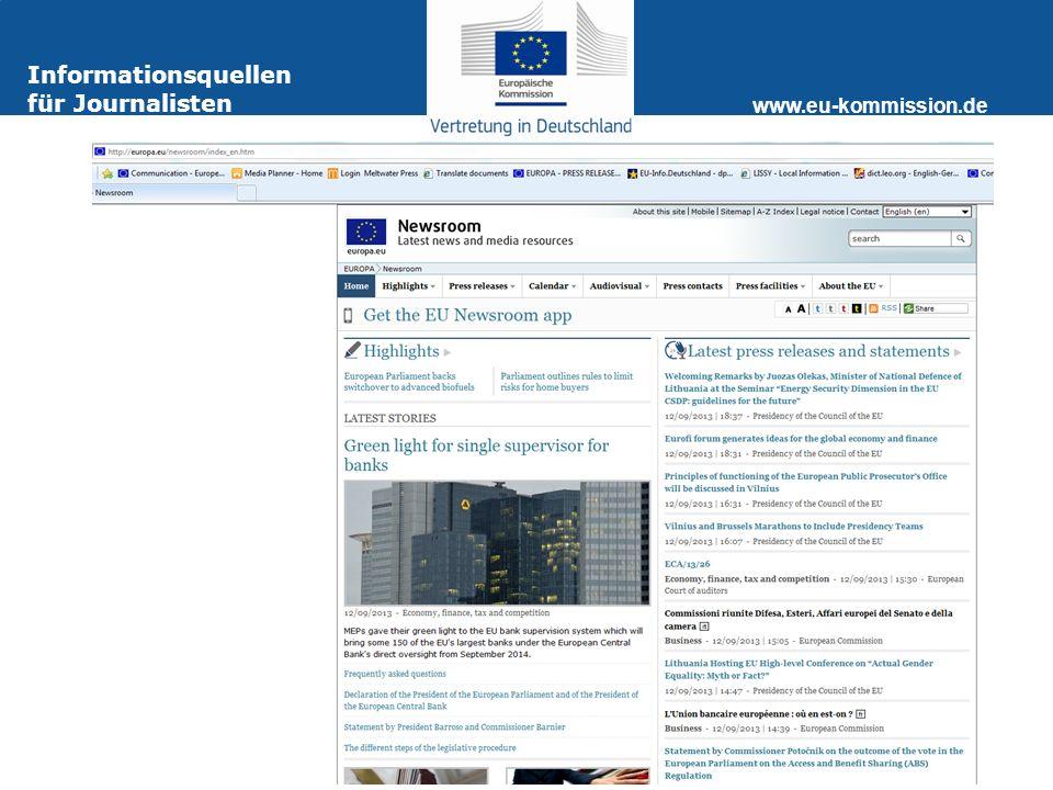 www.eu-kommission.de Informationsquellen für Journalisten