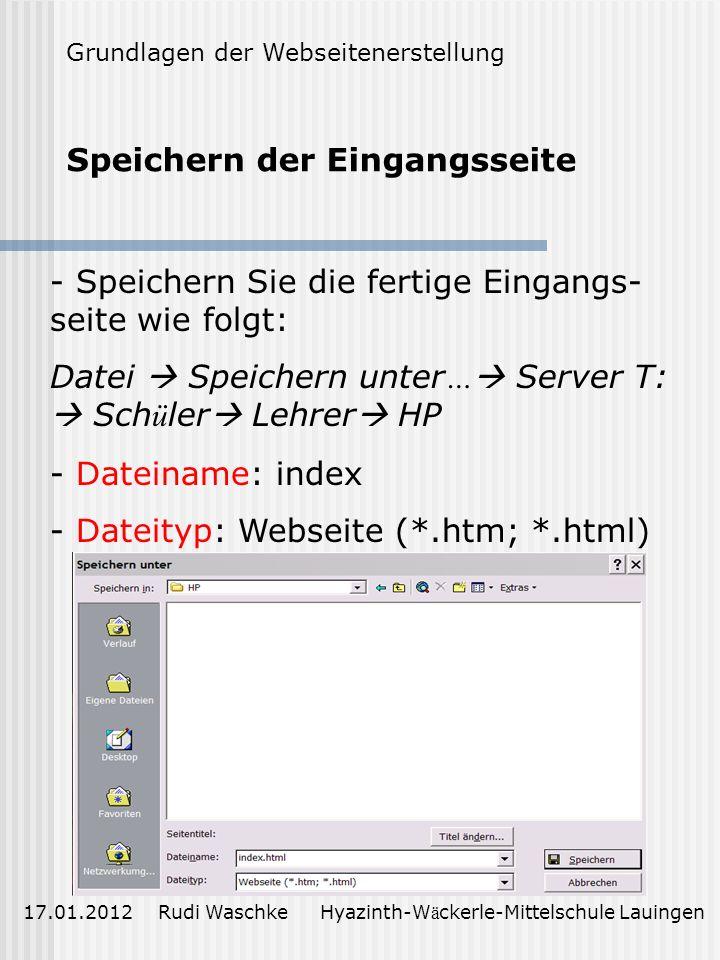 Erstellen der Hyperlinks E inf ü gen einer Email-Adresse 17.01.2012 Rudi Waschke Hyazinth-W ä ckerle-Mittelschule Lauingen Grundlagen der Webseiteners