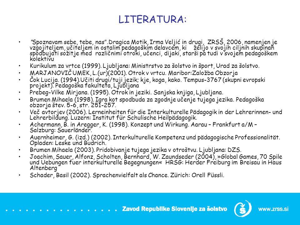 LITERATURA: Spoznavam sebe, tebe, nas.Dragica Motik, Irma Veljić in drugi, ZRSŠ, 2006, namenjen je vzgojiteljem, učiteljem in ostalim pedagoškim delav
