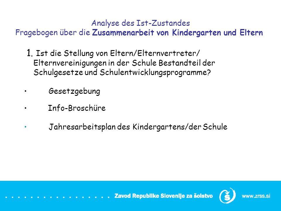 Analyse des Ist-Zustandes Fragebogen über die Zusammenarbeit von Kindergarten und Eltern 1. Ist die Stellung von Eltern/Elternvertreter/ Elternvereini