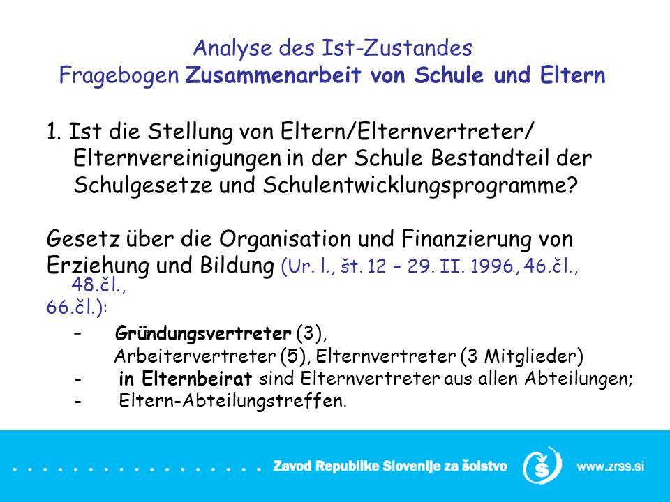 Analyse des Ist-Zustandes Fragebogen Zusammenarbeit von Schule und Eltern 1. Ist die Stellung von Eltern/Elternvertreter/ Elternvereinigungen in der S