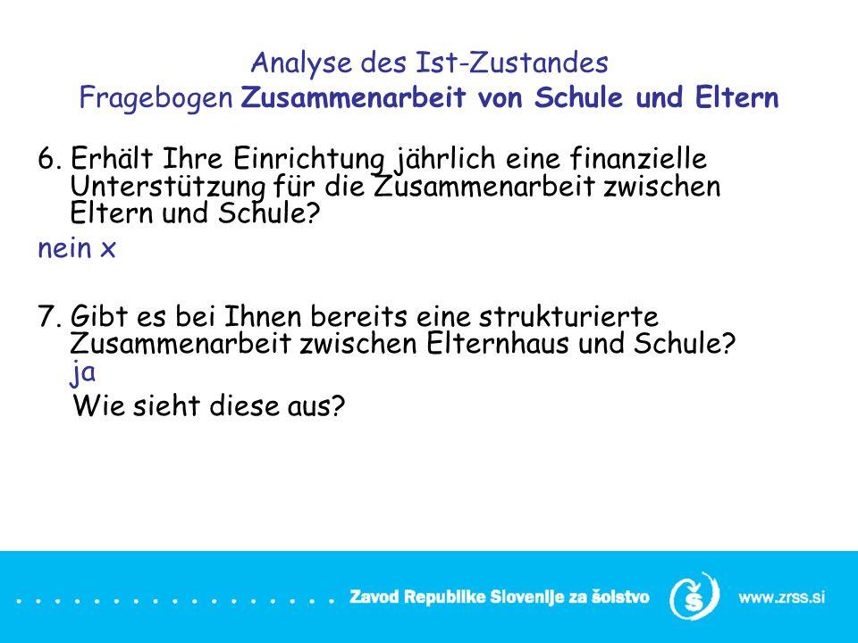 Analyse des Ist-Zustandes Fragebogen Zusammenarbeit von Schule und Eltern 6. Erhält Ihre Einrichtung jährlich eine finanzielle Unterstützung für die Z