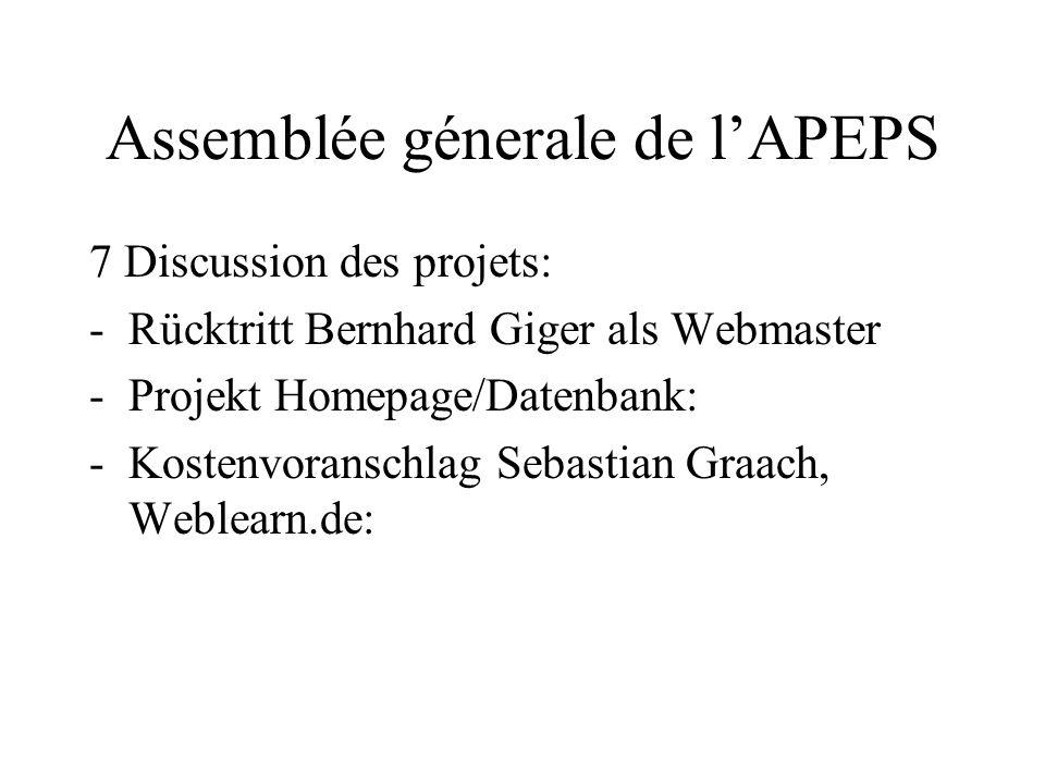 Assemblée génerale de lAPEPS Abschied von Peter Klee aus dem Vorstand DANKE, Peter!