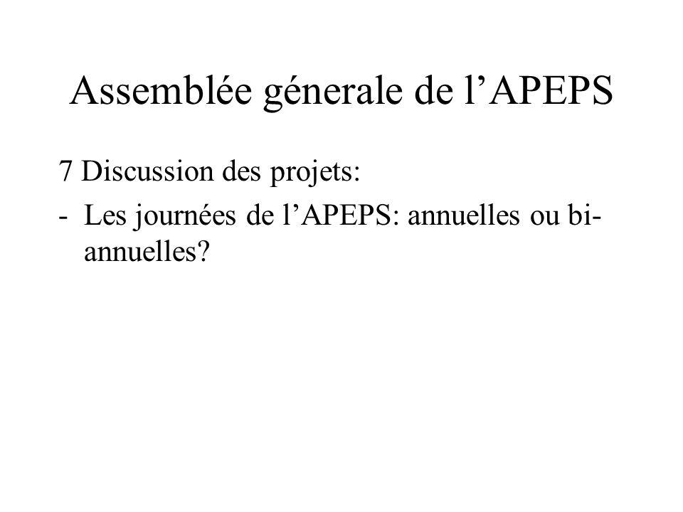 Assemblée génerale de lAPEPS a) vierteljährliche Aktualisierung der vorhandenen Webseite 300.- b) Ausbau der Webseite: ba) viersprachige Webseite bb)