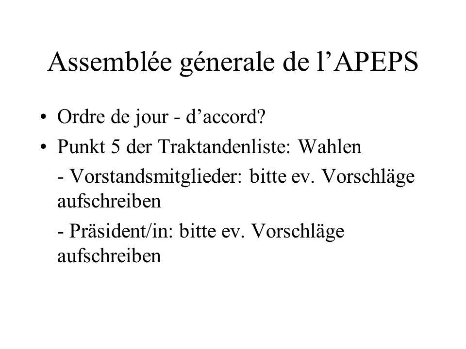 Assemblée génerale de lAPEPS Vendredi 29 septembre 2006 16.30 - 18.00 Basel, Hotel Bildungszentrum