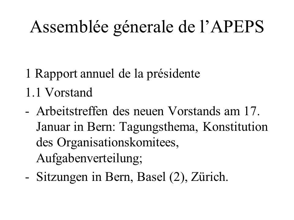 Assemblée génerale de lAPEPS Ordre de jour - daccord? Punkt 5 der Traktandenliste: Wahlen - Vorstandsmitglieder: bitte ev. Vorschläge aufschreiben - P