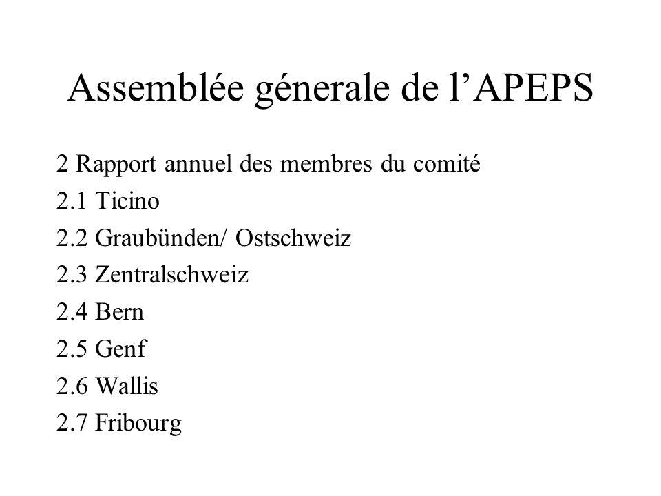 Assemblée génerale de lAPEPS 1.3 Kontaktarbeit/ Werbung -Parlez-vous Suisse? -Ambassade de la France en Suisse; -dreisprachige Broschüre; -Nützen des