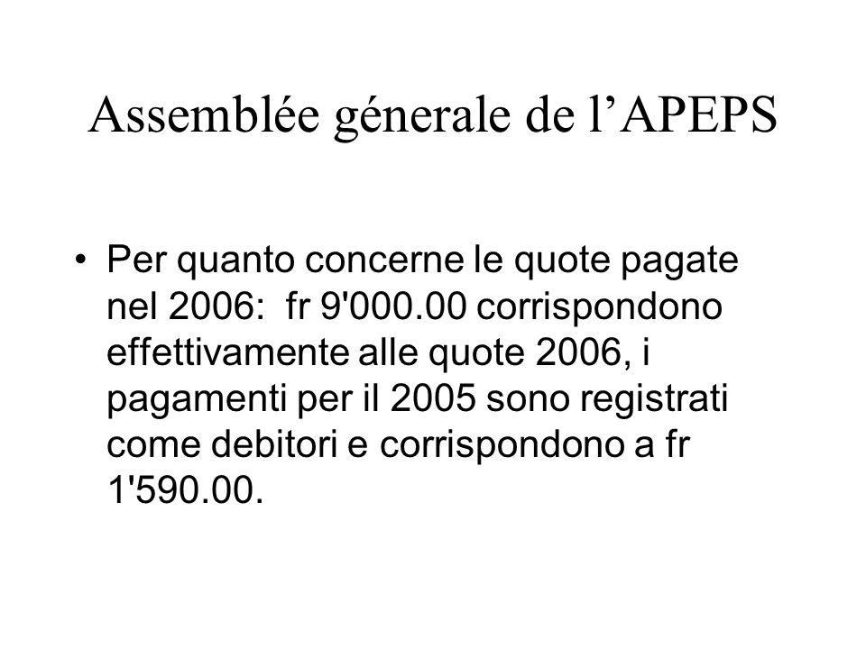 Assemblée génerale de lAPEPS 3 Trésorerie -Übernahme der Kasse durch Flavia Cattori/ Stiftung Sprachen und Kulturen -Abrechnung 1.