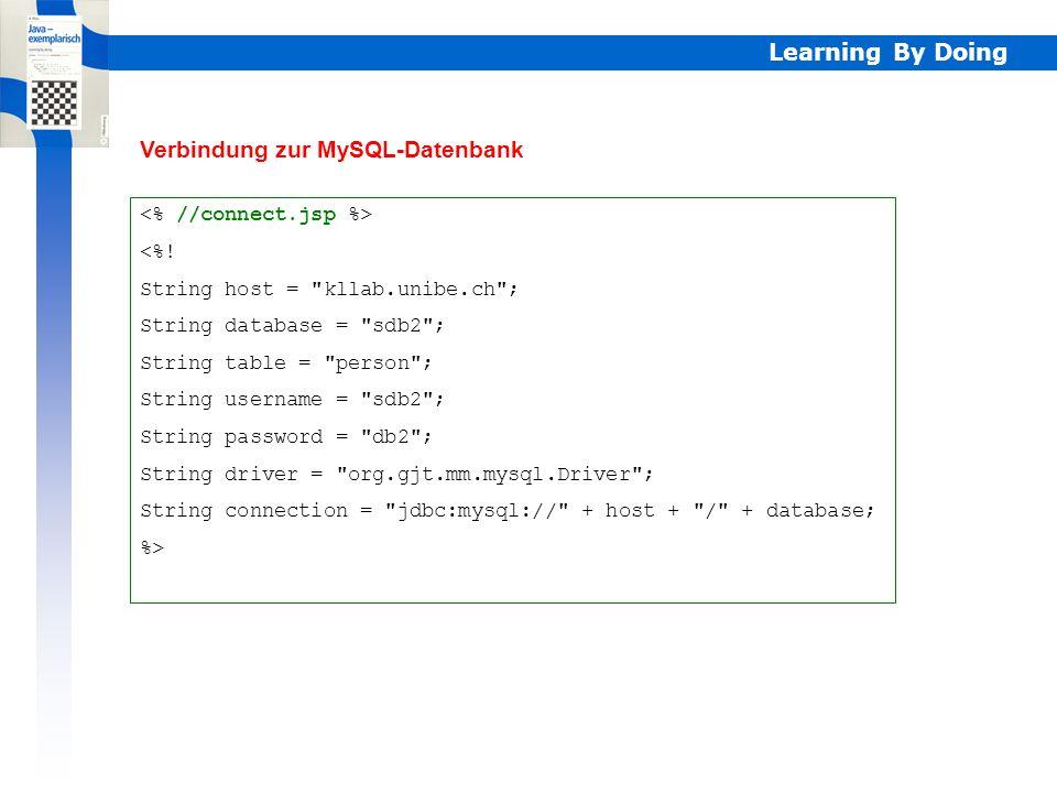 Learning By Doing Webdatenbanken mit JSP JSP-Seiten werden oft als Schnittstelle für den Zugriff auf Serverdatenbanken eingesetzt. Die Informationen f