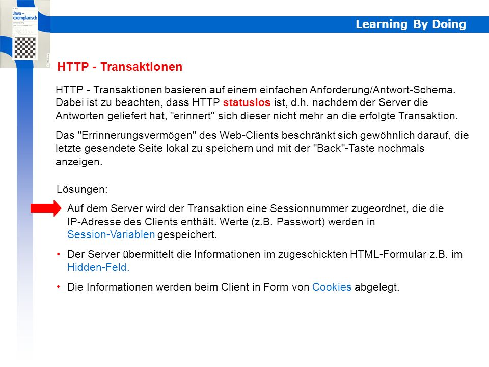 Learning By Doing Beispiel 2: Zugriff mit einem Passwort schützen Man stellt eine Login-Seite voran, in der ein Passwort eingegeben und geprüft wird.