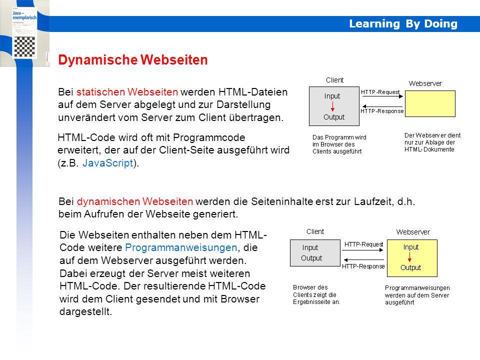 Learning By Doing Bei statischen Webseiten werden HTML-Dateien auf dem Server abgelegt und zur Darstellung unverändert vom Server zum Client übertragen.