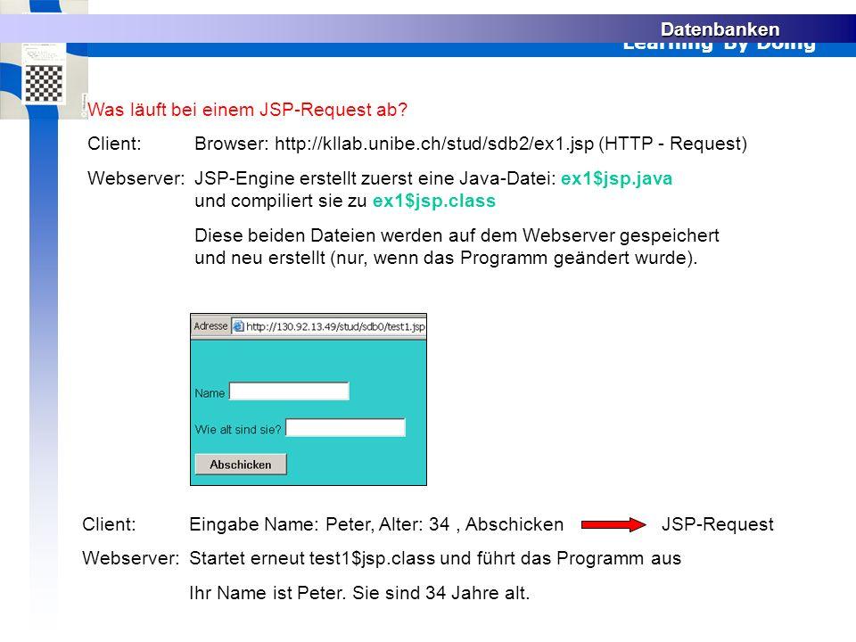 Learning By Doing Datenbanken Was läuft bei einem JSP-Request ab.