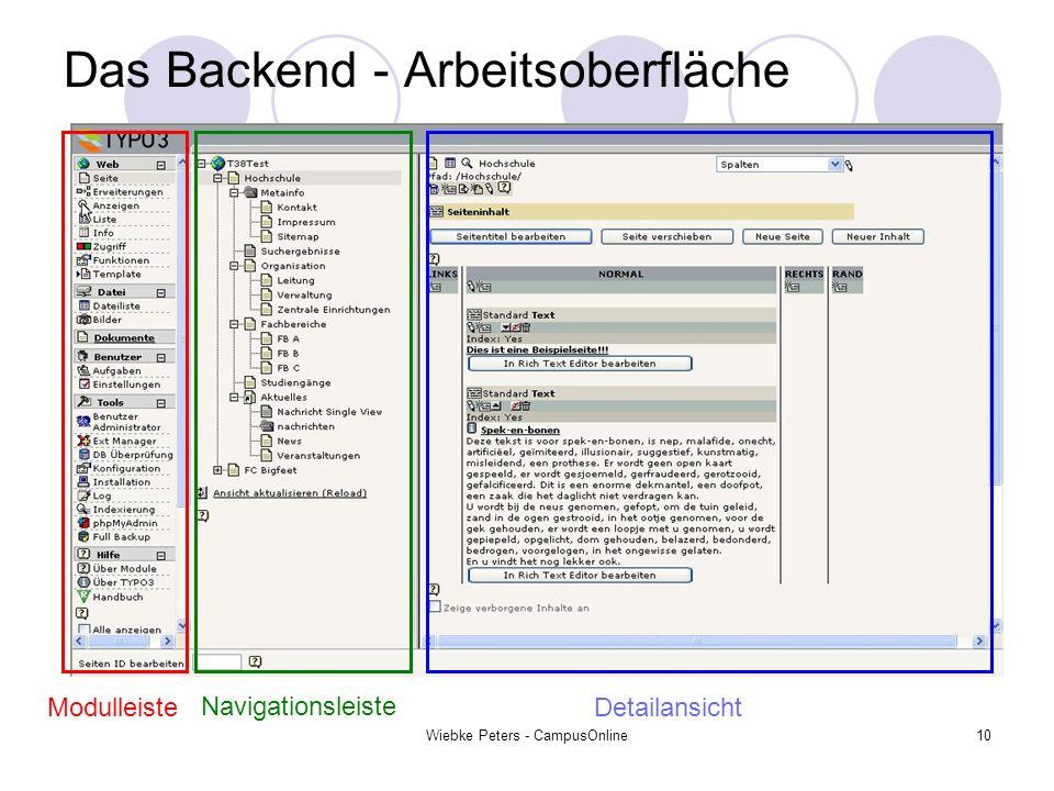 Wiebke Peters - CampusOnline10 Das Backend - Arbeitsoberfläche Modulleiste Navigationsleiste Detailansicht