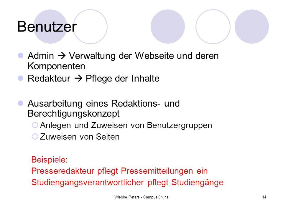 Wiebke Peters - CampusOnline14 Benutzer Admin Verwaltung der Webseite und deren Komponenten Redakteur Pflege der Inhalte Ausarbeitung eines Redaktions