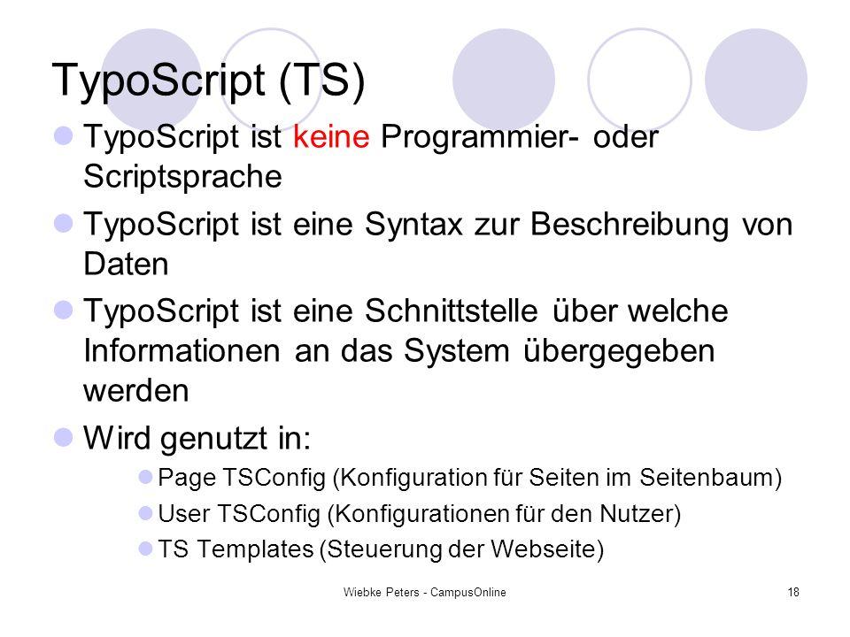 Wiebke Peters - CampusOnline18 TypoScript (TS) TypoScript ist keine Programmier- oder Scriptsprache TypoScript ist eine Syntax zur Beschreibung von Da