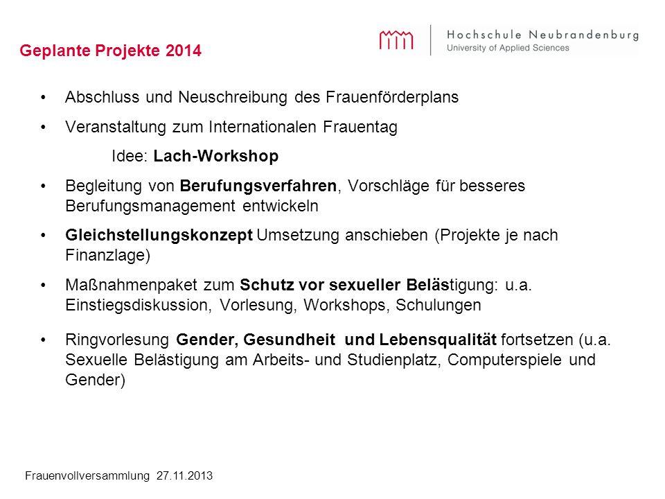 Frauenvollversammlung 27.11.2013 Geplante Projekte 2014 Abschluss und Neuschreibung des Frauenförderplans Veranstaltung zum Internationalen Frauentag