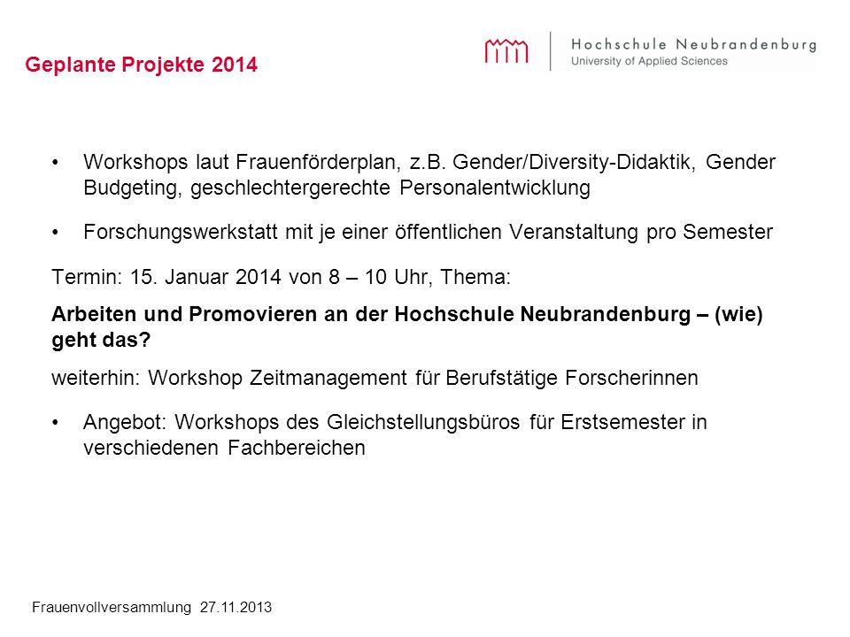 Frauenvollversammlung 27.11.2013 Geplante Projekte 2014 Workshops laut Frauenförderplan, z.B. Gender/Diversity-Didaktik, Gender Budgeting, geschlechte
