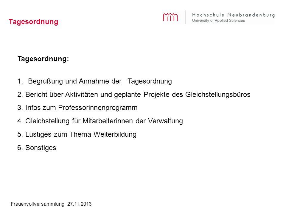 Frauenvollversammlung 27.11.2013 Tagesordnung Tagesordnung: 1.Begrüßung und Annahme der Tagesordnung 2. Bericht über Aktivitäten und geplante Projekte
